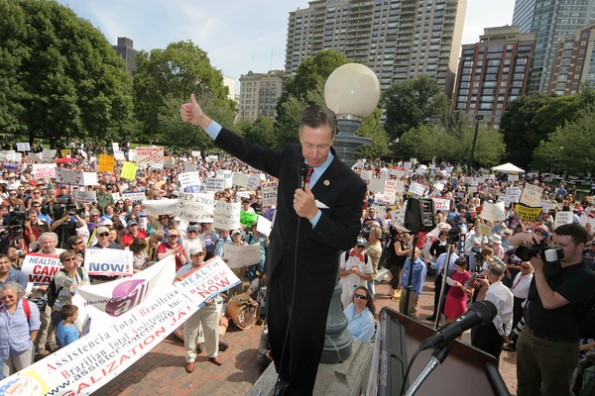 Stephen Lynch was booed off the stand for his opposition to the public option and health care reform. (Sept. 2009)