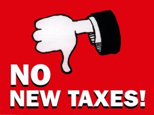 no new taxes fiction